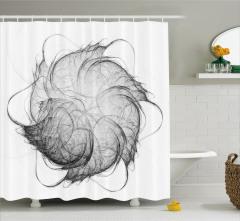 Çiçek Şekilli Girdap Desenli Duş Perdesi Gri Siyah