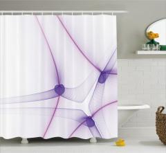 Dekoratif Mor Girdap Desenli Duş Perdesi Şık Tasarım