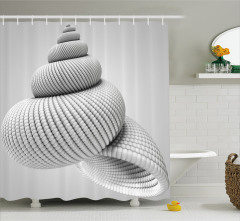 3D Etkili Deniz Kabuğu Desenli Duş Perdesi Girdap
