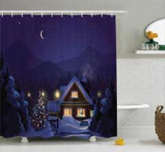 Yılbaşı Ağacı ve Ahşap Ev Desenli Duş Perdesi Kış