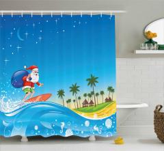 Sörf Yapan Noel Baba Desenli Duş Perdesi Turkuaz