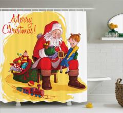 Noel Baba ve Kız Desenli Duş Perdesi Yılbaşı Temalı