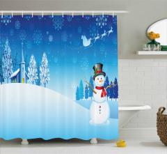 Kardan Adam ve Kilise Desenli Duş Perdesi Mavi Beyaz