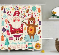 Ayı ve Noel Baba Desenli Duş Perdesi Çocuklar İçin