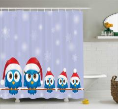 Noel Baba Şapkalı Kuş Desenli Duş Perdesi Yılbaşı