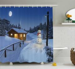 Kış Temalı Duş Perdesi Mavi Kar Kardan Adam Kulübe