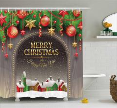Noel Temalı Duş Perdesi Kar Kulübe Yılbaşı Süsü