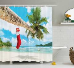 Egzotik Adada Noel Temalı Duş Perdesi Palmiye Deniz