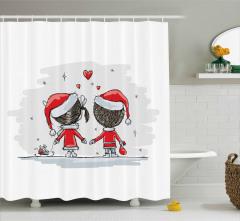 Yılbaşı Aşıkları Temalı Duş Perdesi Kırmızı Beyaz