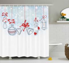 Noel Temalı Duş Perdesi Süsleme Mavi Kırmızı Beyaz