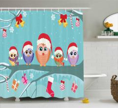 Baykuş Desenli Duş Perdesi Yılbaşı Temalı Mavi Noel