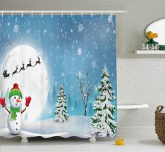 Kardan Adam Desenli Duş Perdesi Çam Kar Mavi Beyaz