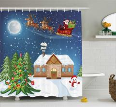 Noel Baba Temalı Duş Perdesi Çam Geyik Kardan Adam