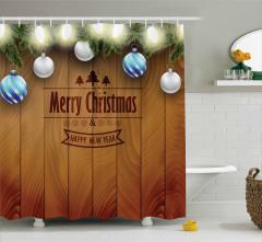 Mutlu Noeller Temalı Duş Perdesi Kahverengi Top