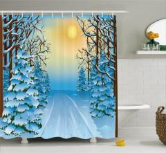 Kış Temalı Duş Perdesi Mavi Beyaz Kar Gün Batımı
