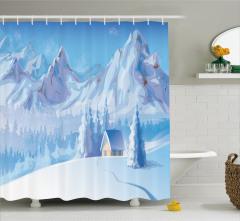 Çocuklar için Duş Perdesi Karlı Dağ Manzaralı Mavi