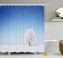 Yalnız Ağaç Temalı Duş Perdesi Romantik Mavi Beyaz
