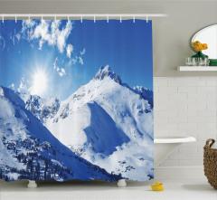 Karlı Dağ Manzaralı Duş Perdesi Kayak Kış Mevsimi