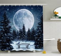 Ay Işığında Romantik Kar Yağışı Temalı Duş Perdesi