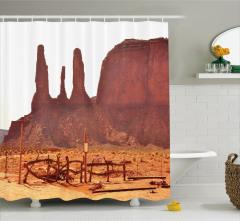 Çöl Manzaralı Duş Perdesi Kahverengi Gökyüzü Güneş