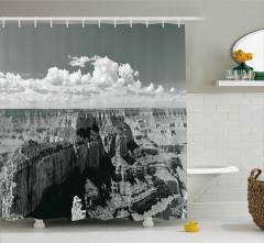 Büyük Kanyon Manzaralı Duş Perdesi Siyah Beyaz Doğa