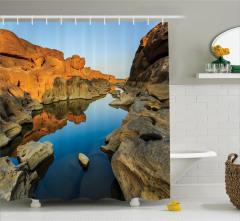 Doğada Huzur Temalı Duş Perdesi Kanyon Gökyüzü Mavi