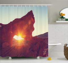 Dağ Manzaralı Duş Perdesi Güneş Kahverengi Turuncu
