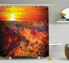 Büyük Kanyon Manzaralı Duş Perdesi Turuncu Güneş