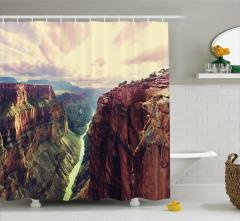 Büyük Kanyon Manzaralı Duş Perdesi Sarı Kahverengi