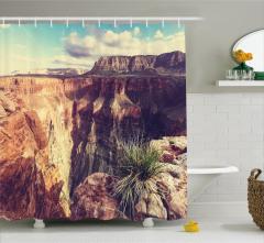 Büyük Kanyon Manzaralı Duş Perdesi Kahverengi Mavi