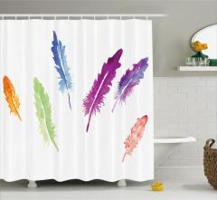 Rengarenk Tüy Desenli Duş Perdesi Sulu Boya Etkili