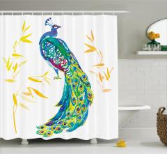 Tavus Kuşu Desenli Duş Perdesi Sarı Mavi Şık Tasarım