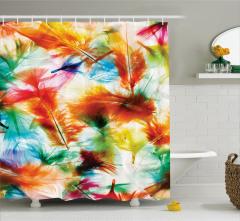 Rengarenk Tüy Desenli Duş Perdesi Çeyizlik Trend