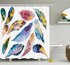 Tüy Desenli Duş Perdesi Mavi Sulu Boya Şık Tasarım