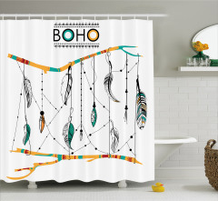 Tüy Desenli Duş Perdesi Siyah Beyaz Şık Tasarım