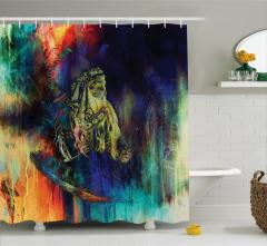 Kızılderili Desenli Duş Perdesi Lacivert Turuncu Tüy
