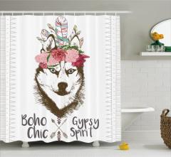 Köpek Portresi Desenli Duş Perdesi Tüy Çiçek Şık