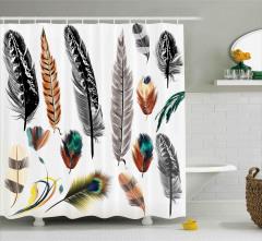 Kuş Tüyü Desenli Duş Perdesi Rengarenk Şık Tasarım