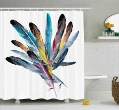 Kuş Tüyü Desenli Duş Perdesi Mavi Beyaz Şık Tasarım