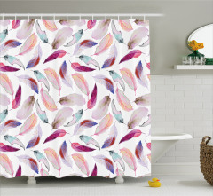 Pembe Kuş Tüyü Desenli Duş Perdesi Sulu Boya Şık