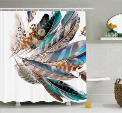 Kuş Tüyü Desenli Duş Perdesi Mavi Kahverengi Şık