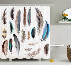 Şık Kuş Tüyü Desenli Duş Perdesi Mavi Kahverengi