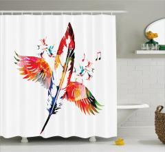 Kırmızı Kuş Tüyü Desenli Duş Perdesi Şık Tasarım