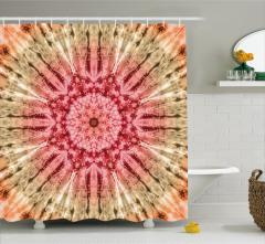 Pembe Beyaz Batik Desenli Duş Perdesi Şık Çiçekli