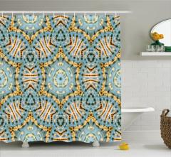 Sarı Mavi Geometrik Desenli Duş Perdesi Yıldızlı