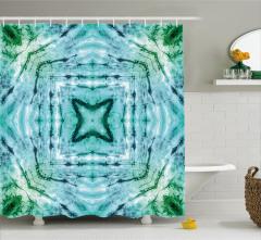 Mavi Beyaz Yıldız ve Kare Desenli Duş Perdesi Batik