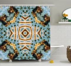 Geometrik Batik Desenli Duş Perdesi Kahverengi Mavi
