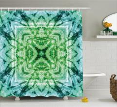 Yıldız Formlu Yeşil Mavi Desenli Duş Perdesi Şık