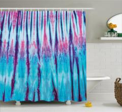 Şık Mavi ve Pembe Desenli Duş Perdesi Mor Şeritli