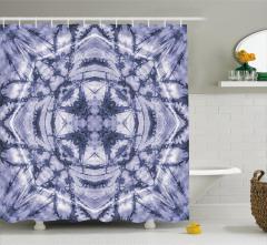 Yıldız Formlu Lacivert Desenli Duş Perdesi Dekoratif